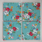 4 Ceramic Coasters in Cath Kidston Clifton Rose Blue